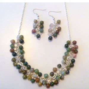 Multi color beaded cluster necklace and earrings